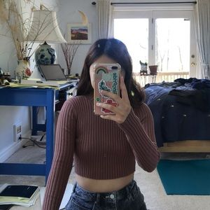 brown fitted cropped sweater